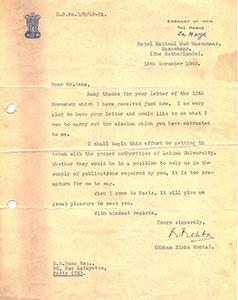 Mohan-Sinha-Mehta-Embassy-of-India,-The-Hague-to-Ranaji